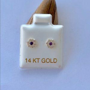 Real 14k Gold Tiny Stud Earring Blue White Flower